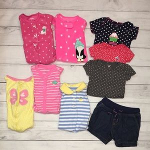 Lot of 9 Girl Carters Mixed clothes Onesies